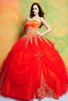 Two-tone Strapless Empire Tulle Ball Gown Quinceanera Dress -Dressfame.com