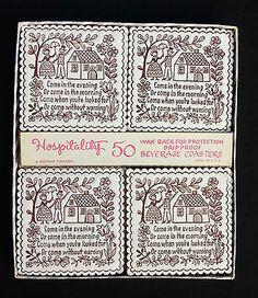 Vintage Paper Coasters Set of 50 Hospitality Wax Back Drop Proof Unused Brownie