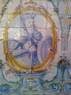 D. AFONSO I – Painel de azulejos no Jardim do Palácio Galveias, Lisboa.