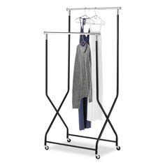 Whitmor 2-Tier Flared Rolling Garment Rack in Black