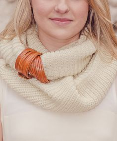 Another great find on #zulily! Yellow Warm & Eager Leather Bracelet/Scarf Cuff by Stay Warm In Style #zulilyfinds