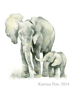 Elephant baby shower print a of Mom and baby by TheDailyWatercolor