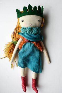 "ON HOLD for valerie punky little lu doll 12"" faerie queen pixie doll blond girl cloth doll rag doll - blue dress leaf crown"