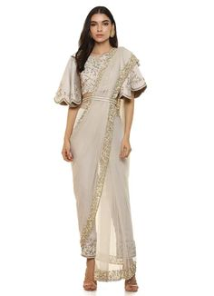 Look Grey Embroidered Pant Sari Set Indian Gowns Dresses, Indian Outfits, Saree Gown, Designer Gowns, Celebrity Look, Bridal Lehenga, Indian Wear, Occasion Dresses, Indian Fashion