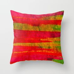 FIERCE - Intense Wild Nature Masculine Stripes Abstract Watercolor Painting Design Urban Fine Art Throw Pillow