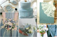 denim blue wedding inspiration ideas with lace wedding invitaitons