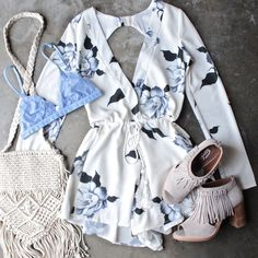 in full bloom floral print open back romper