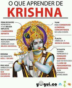 o-que-parender-de-KRISHNA. Krishna Radha, Hare Krishna, Durga, Indian Gods, Indian Art, Shiva Yoga, Kundalini Yoga, Hindu Rituals, Legends And Myths
