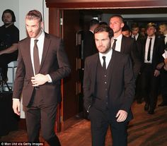 United's Spanish players David de Gea (left) and Juan Mata arrive at the black tie functio...
