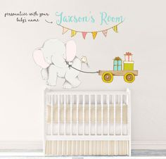 Toddler Wall Art Toddler Decal Toddler Decor Baby Wall Name Baby Wall Stickers Baby Wall Decor Baby Wall Decal Kids Wall Elephant 003WDEBC by TppCardS #tppcards #printable #invitations
