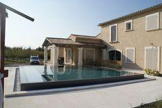 Construction piscine carrée, Lagnes, effet miroir