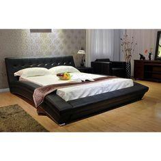 Black Upholstered California King Bed