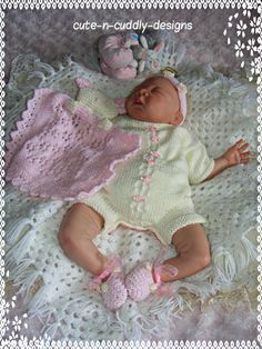 Designer knitting Pattern to make  a Romper suit , shoes, headband and snuggly blanket, Will fit 0-3 month baby or Reborn/doll 18-22 inch . You can buy the pattern from my website..http://www.cute-n-cuddly-designs.com