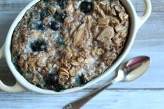 Winter Blueberry Almond Baked Oatmeal, for one ~ made this for breakfast & it was yum yum!