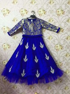 Tutu edged brocade blouse and hand embroidered raw silk skirt Frock Design, Baby Dress Design, Frocks For Girls, Dresses Kids Girl, Kids Outfits, Kids Dress Wear, Kids Gown, Kids Wear, Mode Bollywood