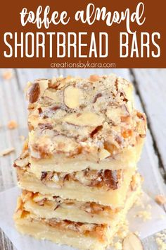 Almond Toffee Bars- Buttery shortbread crust with an ooey gooeytoffee center, topped with crunchy almonds. Seriously addicting! Toffee fans will love these scrumptious Almond Toffee Bars! #almondtoffeebars #toffeebars #almondbars #barcookies #creationsbykara Bite Size Desserts, Cookie Desserts, Easy Desserts, Cookie Recipes, Delicious Desserts, Bread Recipes, Yummy Food, Toffee Bars, Toffee Cookies