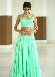Crop top lehnga and mint green