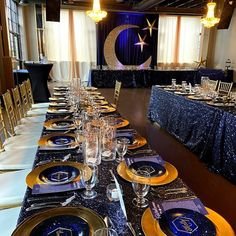 In love with the Navy and Gold! Head Table Backdrop, Gold Backdrop, Reception Decorations, Event Decor, Stars And Moon, Gold Stars, Wedding Draping, Quinceanera Themes, Celestial Wedding