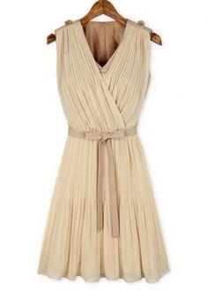 Apricot V Neck Sleeveless Pleated Dress for Work