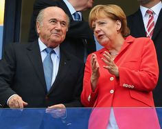 FIFA Mundial Brasil 2014 Brazil World Cup Soccer Weltmeister 2014 German chancellor Angela Merkel, right, talks to FIFA WC Soccer  Brazil President Sepp Blatter prior to the group G World Cup soccer match between Germany and Portugal at the Arena Fonte Nova in Salvador, Brazil, Monday, June 16, 2014.