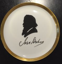 """A Set of Four 1971 First Issue Famous Composers 6.5"""" Porcelain with Gold Plates Designed in Furstenberg Made in Germany by MissHavishamsShop on Etsy"""