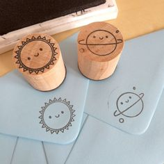 2 Polymer Stamps - Kawaii Sun & Planet (10.00 GBP)