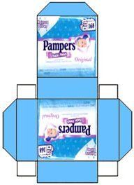 pamper box template | Pampers licht blauw