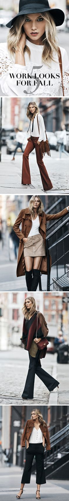 Here's a Karlie Kloss + Express look for every day of the workweek. Rich colors, soft textures, feminine details, seventies cues and new leg shapes define the season. Also, how amazing is that striped poncho with dark flare jeans?
