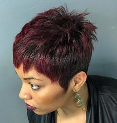 Brown Pixie With Burgundy Balayage