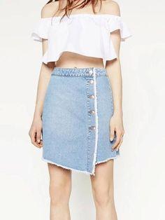 Saia Jeans Assimétrica - Compre Online | DMS Boutique
