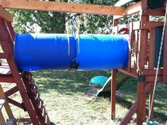 cheap tunnel for outside play. Single barrel would seem safer or better bracing for double