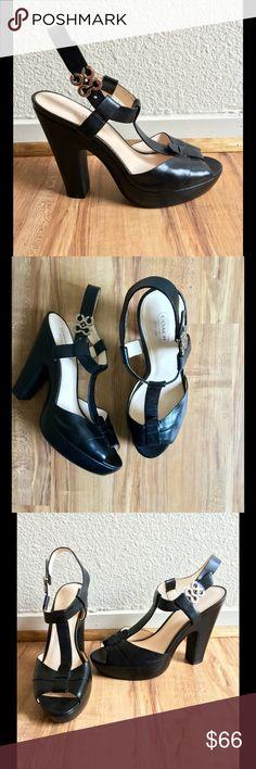 Coach Heels Coach Style Kourtney Black Leather With Silver Signature C Platform Heels PrelovedBeen worn gentlyWomen's Size 9 Medium  Coach Shoes