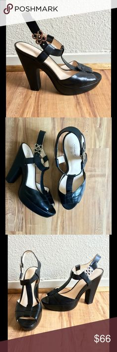 Coach Heels Coach Style Kourtney Black Leather With Silver Signature C Platform Heels 👠🎉Preloved🎉Been worn gently🎉🎉🎉Women's Size 9 Medium 👠👠 Coach Shoes