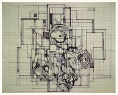 """""""Floor plan for a new personality"""" Megan McGlynn architectural drawing, pen and ink www.meganmcglynn.com"""