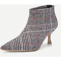 a7bd55f9589 Kitten Heeled Plaid Ankle Boots ❤ liked on Polyvore featuring shoes