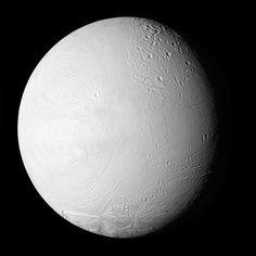 Enceladus - major moon of Saturn  Visible light
