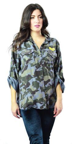 13b8bf75cb3c Γυναικείο Militaire Μακρυμάνικο Πουκάμισο με στρας