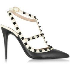 Valentino Rockstud Black & Light Ivory Leather Ankle Strap Pump