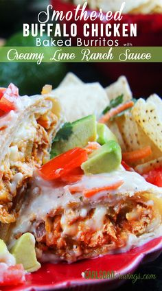 MUST TRY!!!  Chicken marinated in Frank's hot sauce, lime juice and spices then sauted with carrots, onions, celery, green chilies, rolled in a tortilla then baked and smothered in ranch lime sauce. CRAZY DELICOUS ! Carlsbad Cravings
