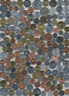 200 Different World Coin Collection (the random layout could encourage a post card design) Beer Mats, Foreign Coins, Error Coins, Postcard Design, World Coins, Coin Collecting, Legos, Colours, Shapes