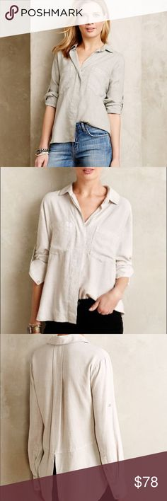 "Anthropologie Cloth and Stone Ashby Button down Brand new. Size Medium. Straw/light linen color. The last picture is to show the back of the shirt. By Cloth & Stone TENCEL Lightweight, easy fit Roll-up sleeve with button tab Button front Machine wash Imported 24""L Style No. 4110259834303 Anthropologie Tops Button Down Shirts"