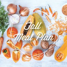 Fall Meal Plan. A 5 week seasonal meal plan using fall fruits and veggies. It comes with corresponding grocery lists and calendar. The recipes are so easy to make and so good!