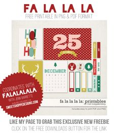 Free Fa la la la la Journal Cards and Labels from My Digital Art Studio {on Facebook}
