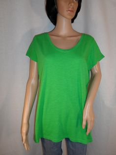 NEW Knit Top Tee Green Scoop Neck Large Short Sleeve | Style & Co -$12.95 free ship PLUS BOGO! #segundavez
