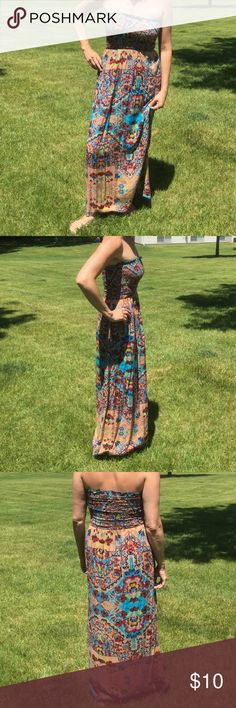 "❤️Angie Maxi Dress❤️ Strapless maxi dress. Colorful turquoise, tans, and reds.  Hand wash cold, drip dry. Length is 49"" from armpit. Got a lot of compliments on this! Angie Dresses Maxi"