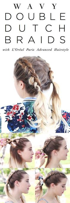 Easy, wavy double braids for summer on @stonefoxstyle. 1. Part hair down center and separate evenly into 2 sections. 2. On one side, separate hair into 3 sections and begin a Dutch braid by pulling the right piece under the middle and then the left under the middle, while adding more hair from the root. 3. Braid until halfway down, secure; repeat on other side. 4. Using a ribbon curling iron, curl small sections of the loose hair on either end. 5. Finish with Lock It Bold Control Hairspray.