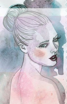 gorgeous watercolour and ink portraits by Samantha Hahn #blue