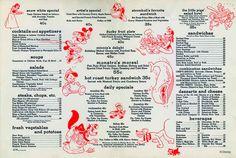 The original menu at the Disney Studio canteen, circa 1940