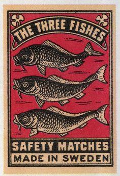 The Three Fishes, #tulitikkuetiketit #etiketit #matchbox #labels #sweden #sverige