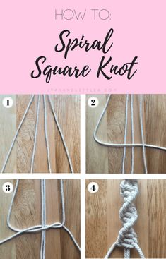 DIY Macrame Plant Hanger, macrame, macrame knits, how to spiral square knot, square knot, simple macrame, easy macrame, beginner macrame, spiral square knot